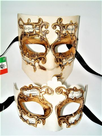 Genuine Venetian Cream Gold His & Hers Half Masks
